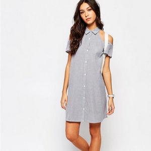 Asos Influence Cold Shoulder Swing Shirt Dress